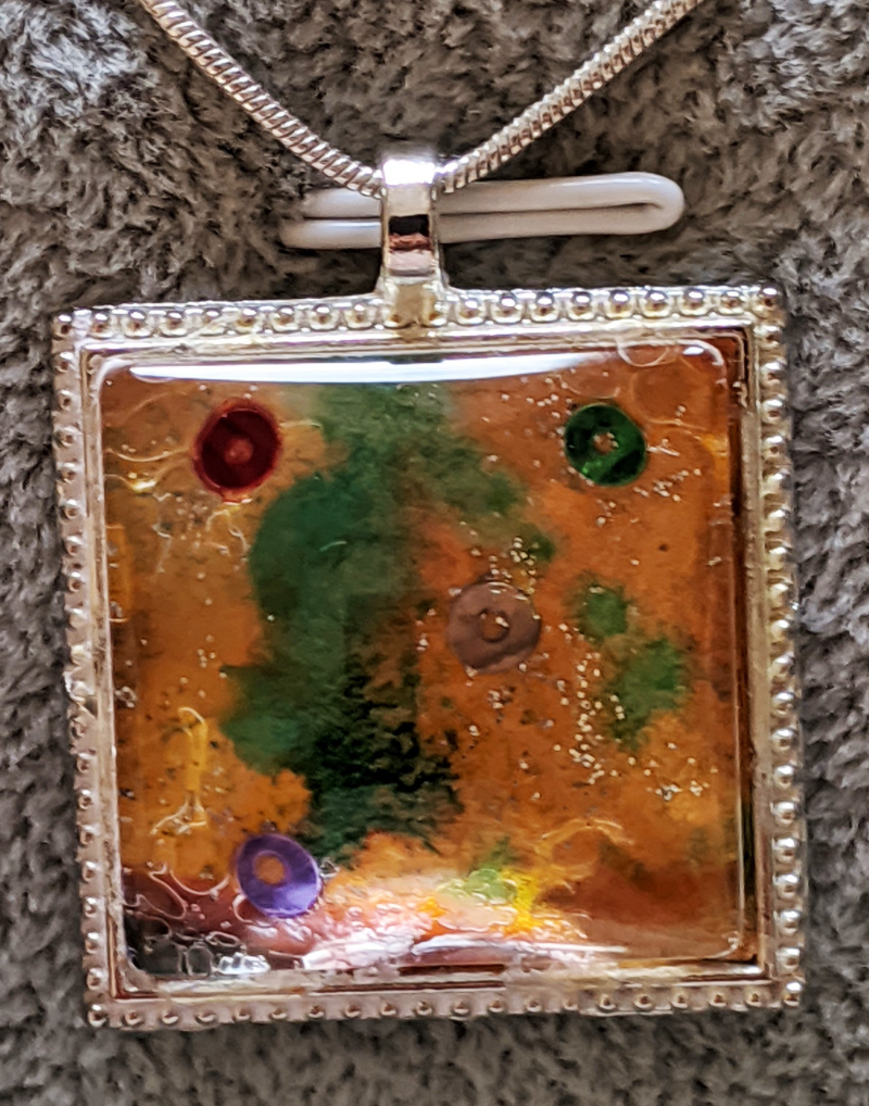 """Dreams"" Square pendant with original miniature painting"